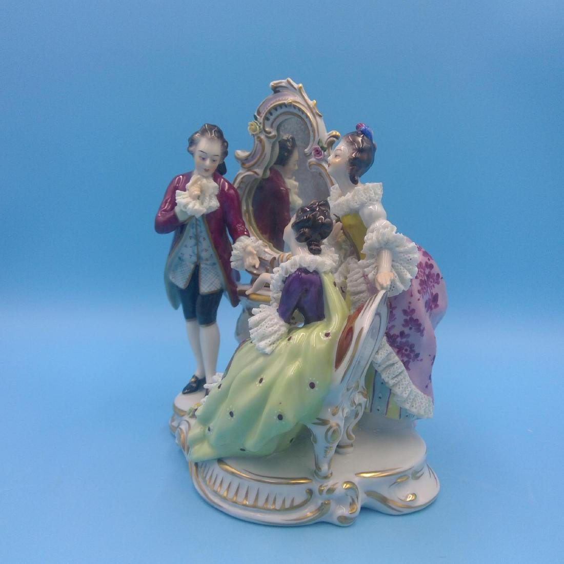 VOLKSTEDT 18thC GERMAN PORCELAIN GROUP FIGURINE - 2