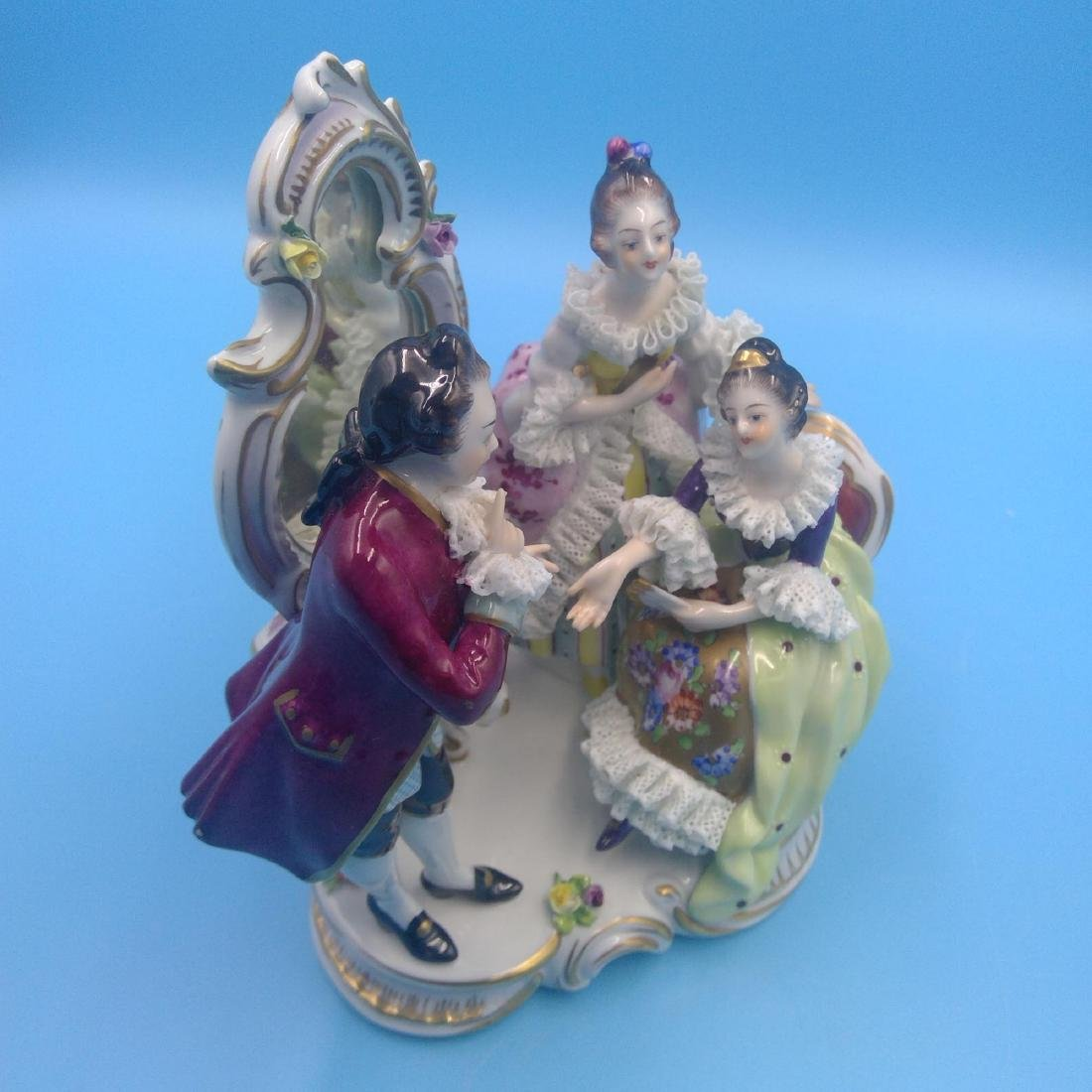 VOLKSTEDT 18thC GERMAN PORCELAIN GROUP FIGURINE - 5