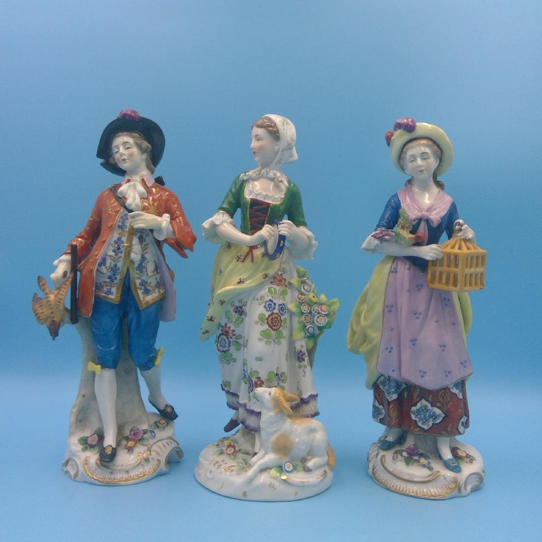 GROUP OF 3 CHELSEA 18thC ENGLISH PORCELAIN FIGURES