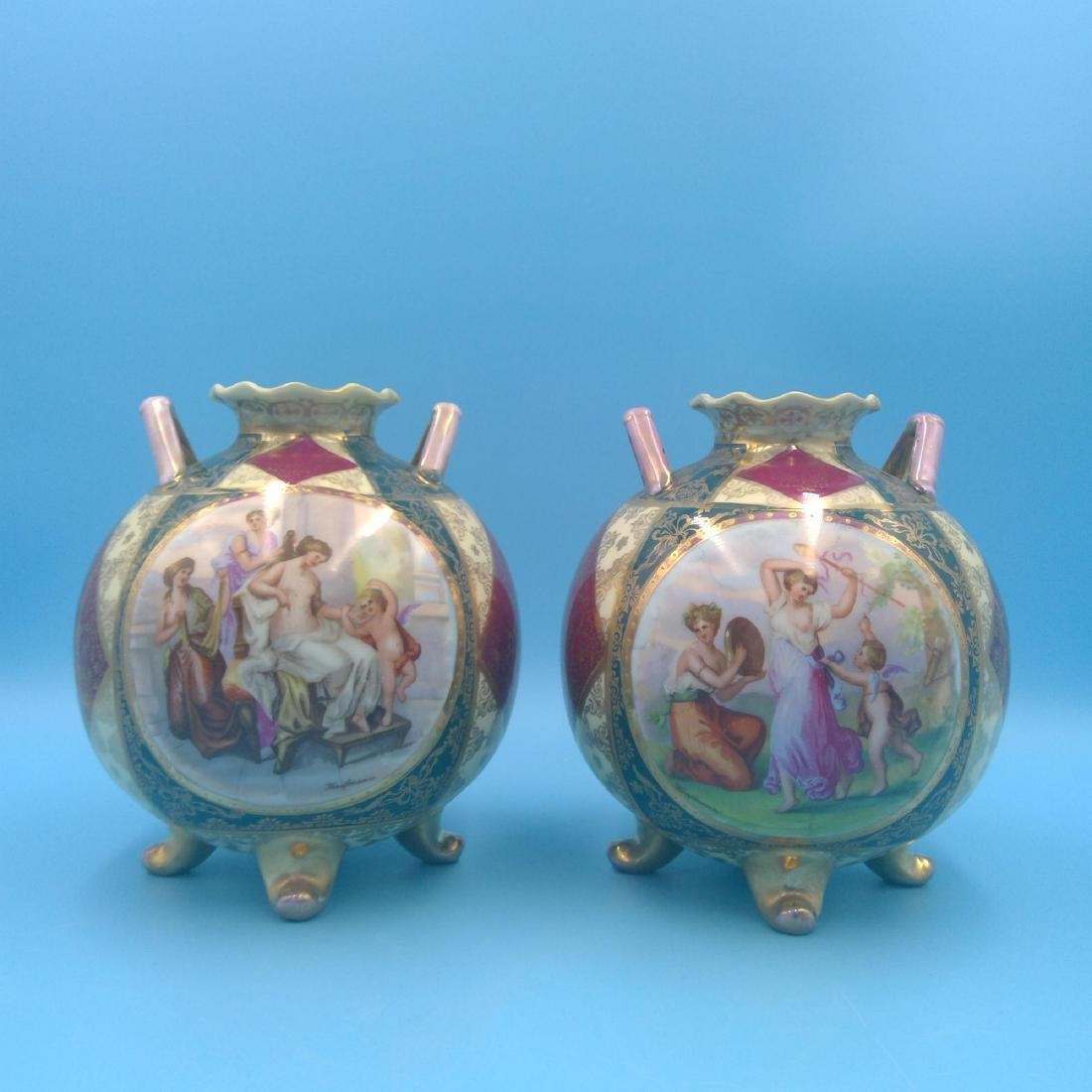 PAIR OF ROYAL VIENNA KAUFMANN SCENERY VASES