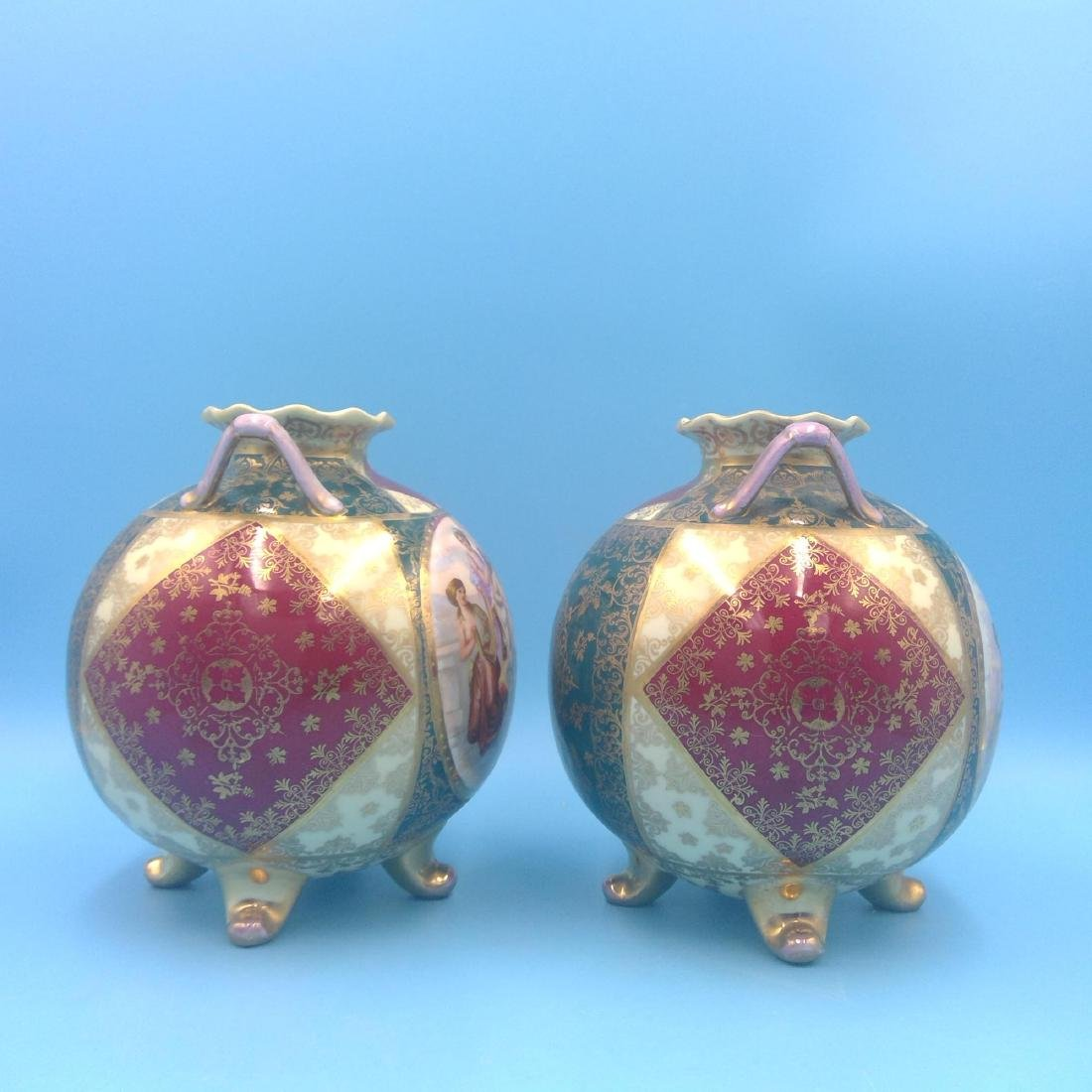 PAIR OF ROYAL VIENNA KAUFMANN SCENERY VASES - 4
