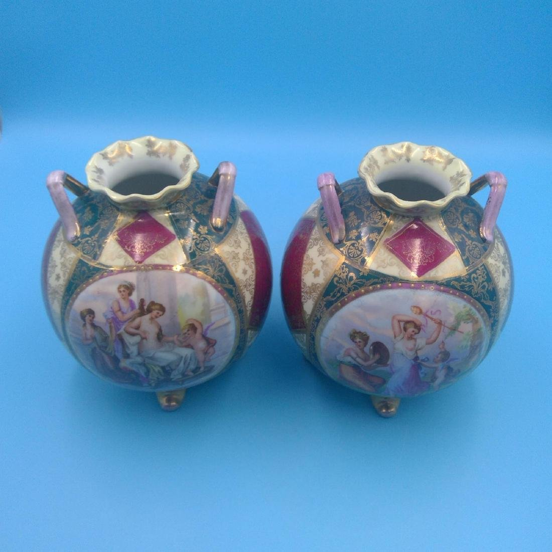 PAIR OF ROYAL VIENNA KAUFMANN SCENERY VASES - 6