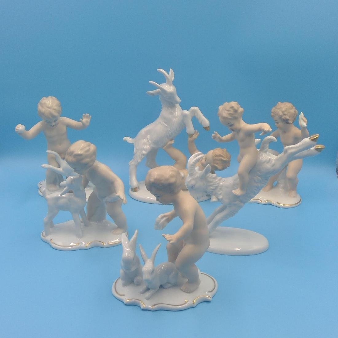 GROUP OF 6 WALLENDORF CHERUB FIGURINES
