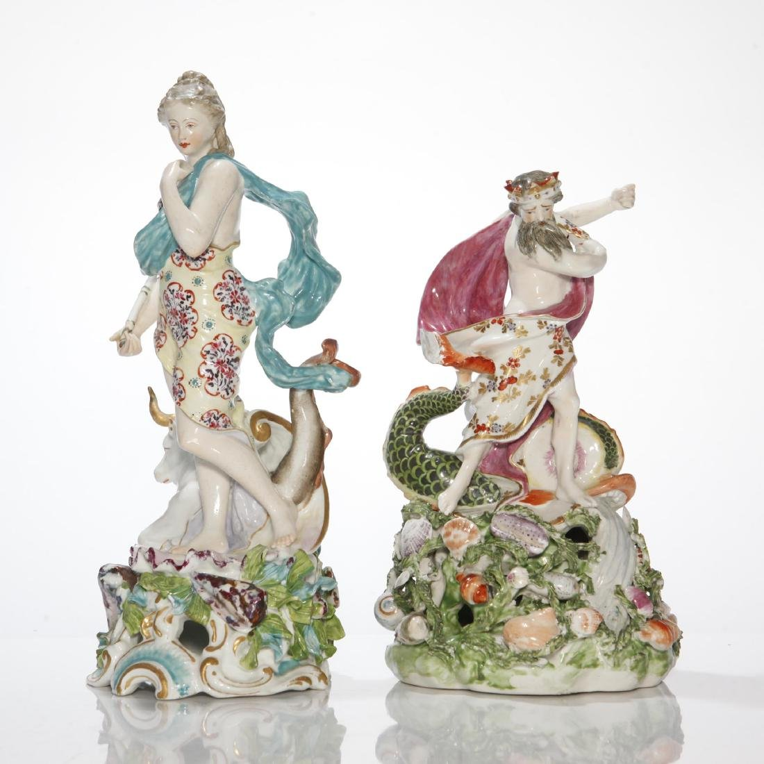 PAIR DERBY 18thC PORCELAIN GROUP NEPTUNE & EUROPA
