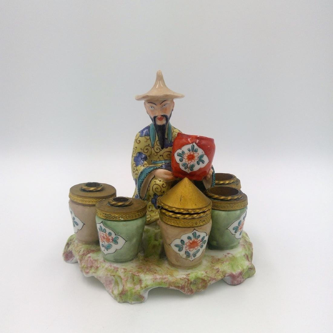 ANTIQUE PORCELAIN & BRONZE INKWELL CHINESE MAN