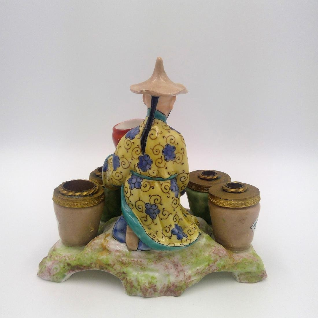 ANTIQUE PORCELAIN & BRONZE INKWELL CHINESE MAN - 3