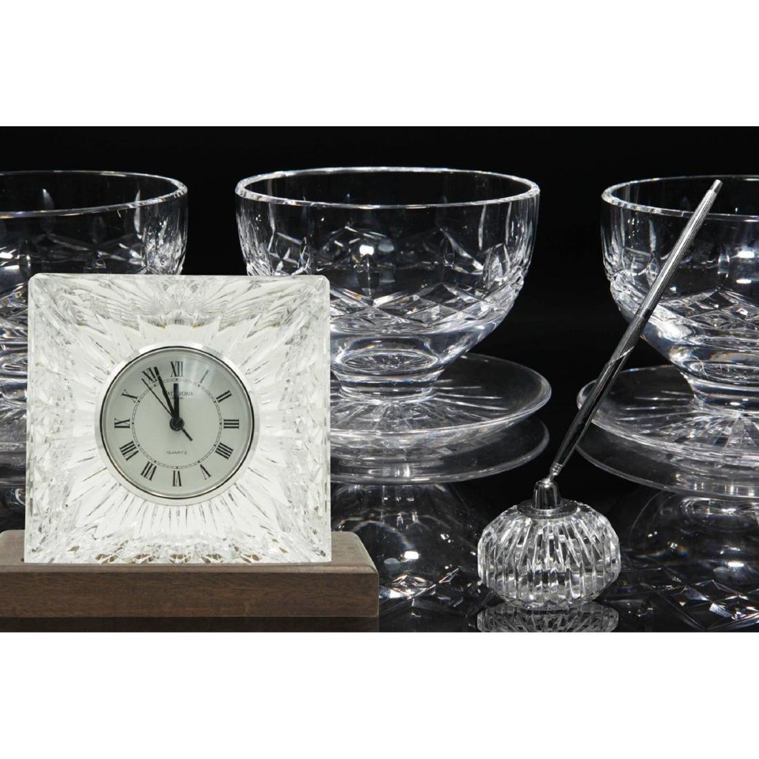 8PC WATERFORD LISMORE GLASSES, CLOCK, PEN HOLDER