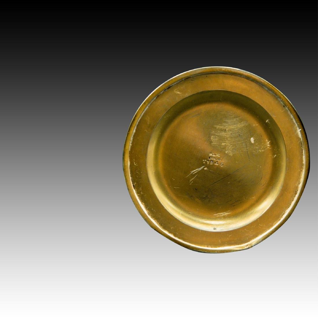 CRYSTAL, STERLING, GUILLOCHE ENAMEL PERFUME BOTTLE - 3