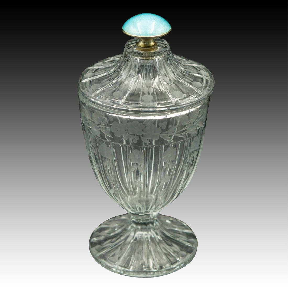 HEISEY GUILLOCHE ENAMEL, STERLING, CRYSTAL JAR