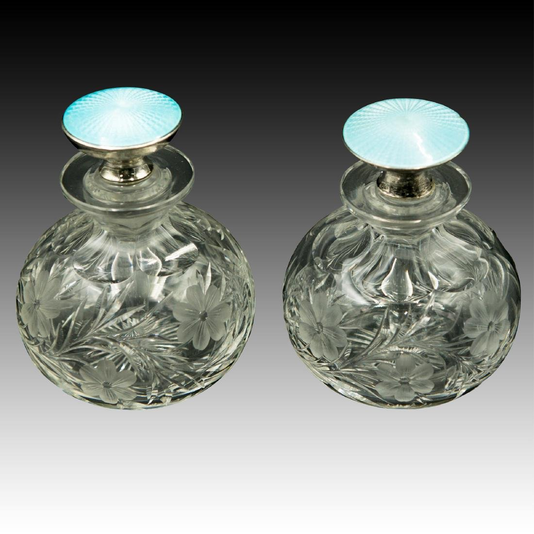 PAIR OF CRYSTAL STERLING GUILLOCHE PERFUME BOTTLES