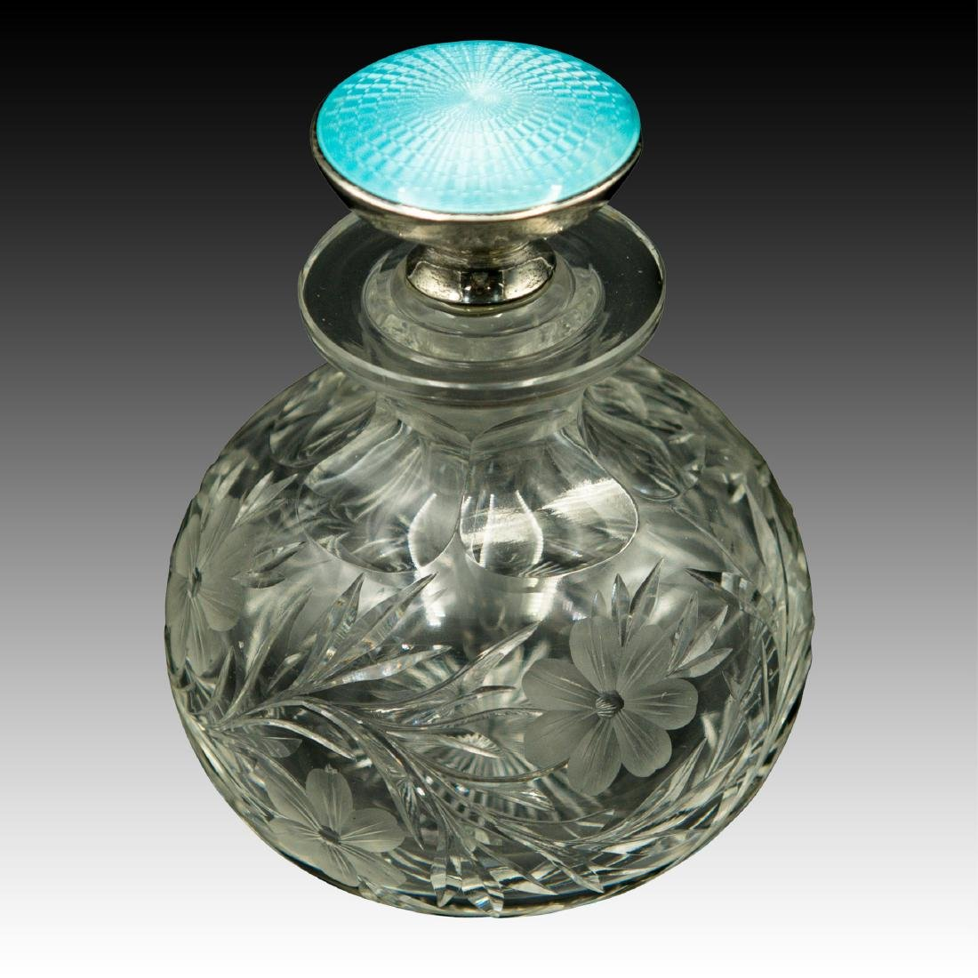 PAIR OF CRYSTAL STERLING GUILLOCHE PERFUME BOTTLES - 2