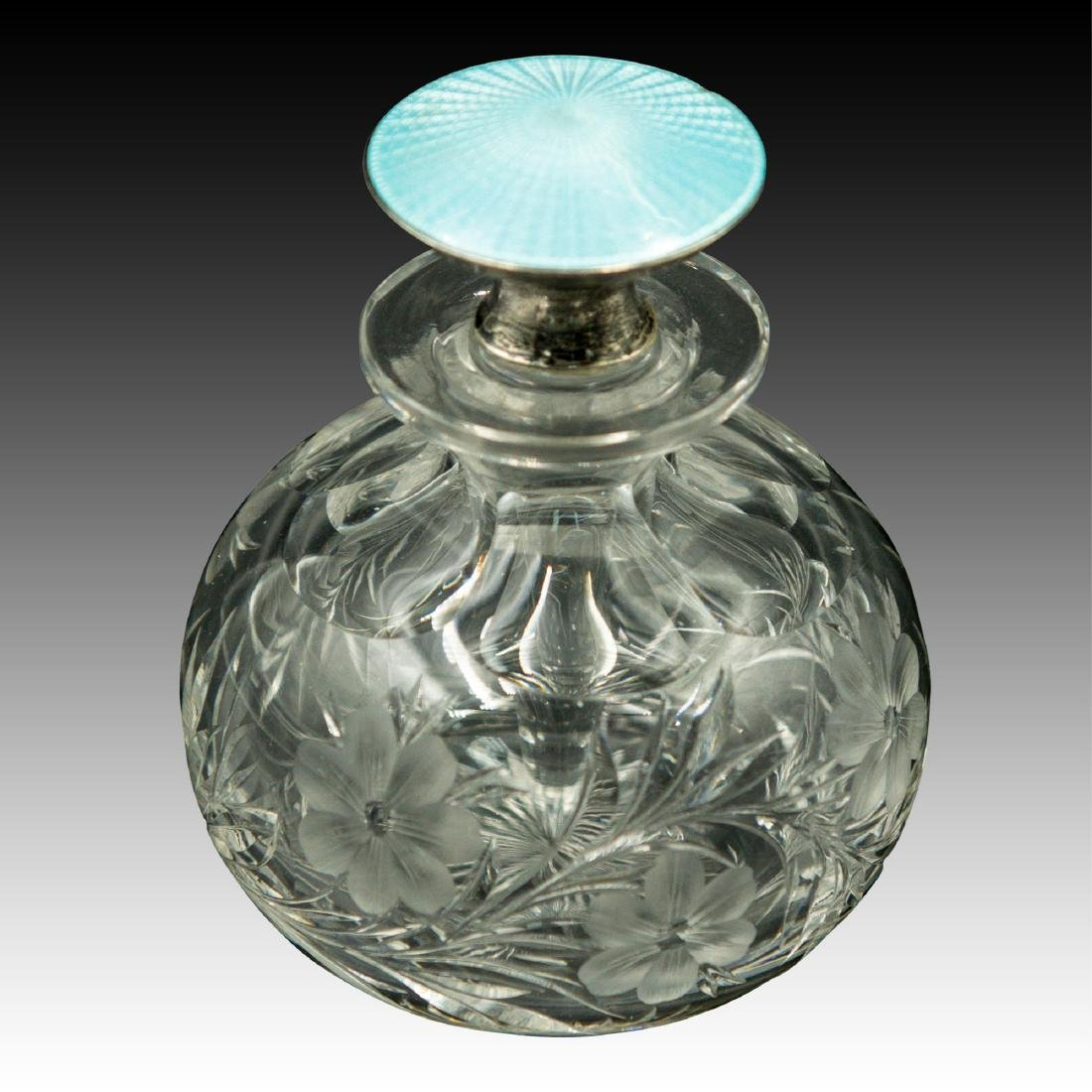 PAIR OF CRYSTAL STERLING GUILLOCHE PERFUME BOTTLES - 5