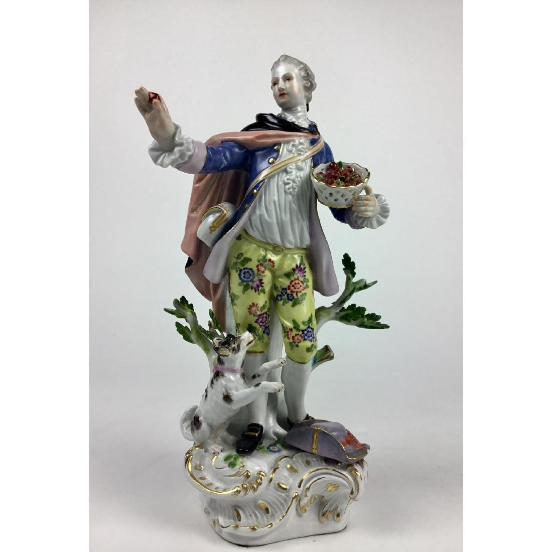 MEISSEN YOUNG MAN WITH DOG & FRUIT FIGURINE