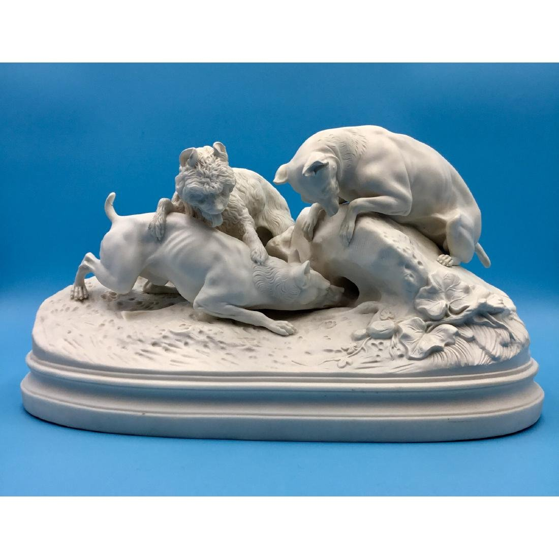 LARGE BISQUE PORCELAIN GROUP HUNTING DOGS