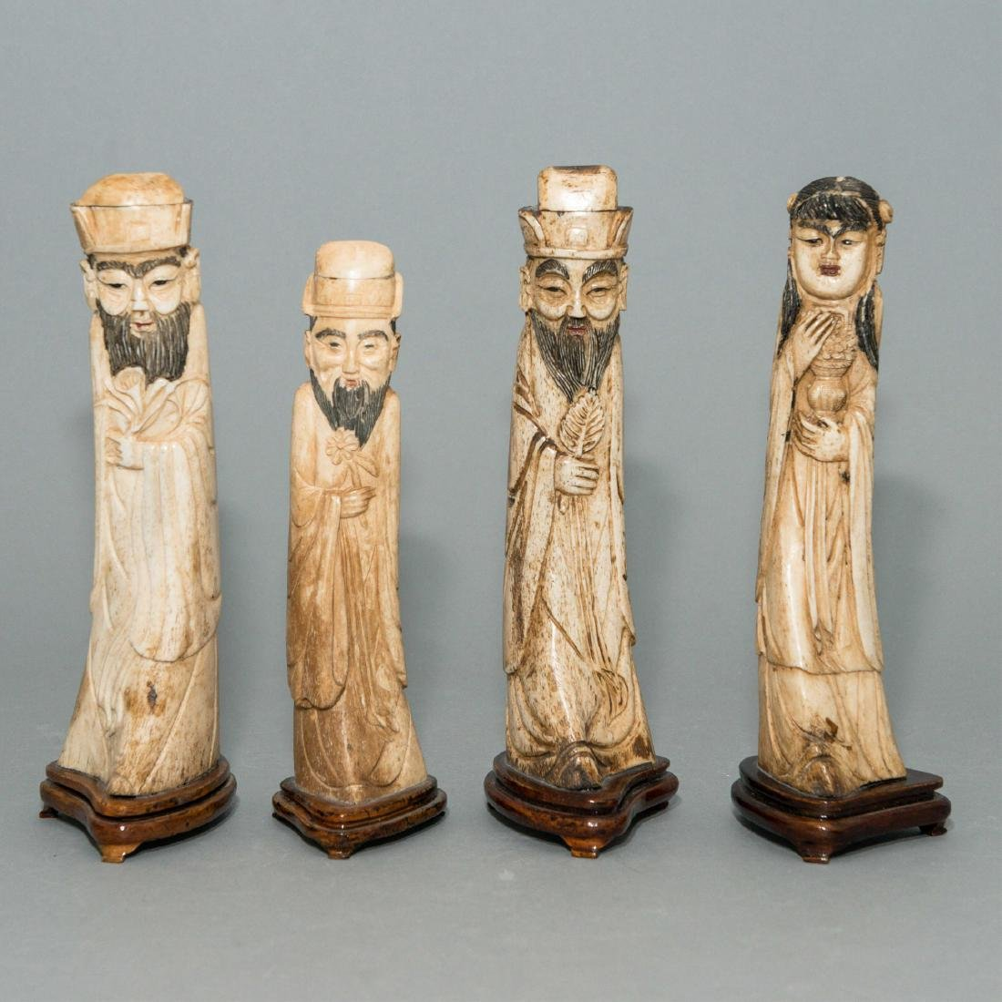 4 CHINESE CARVED ANTLER STATUES, WOOD MOUNTED