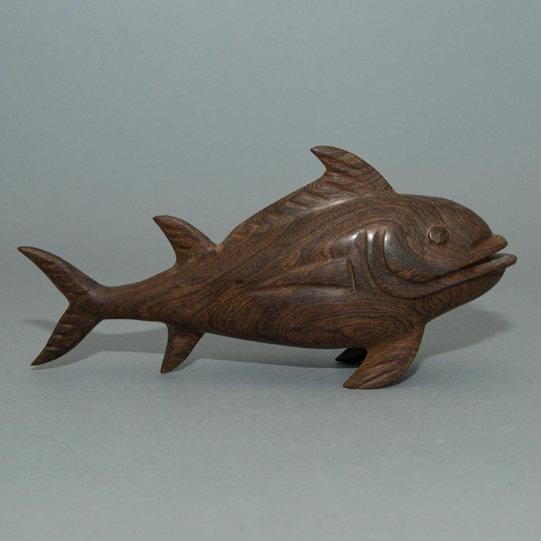 WOODEN CARVING OF FISH, ARTIST SIGNED