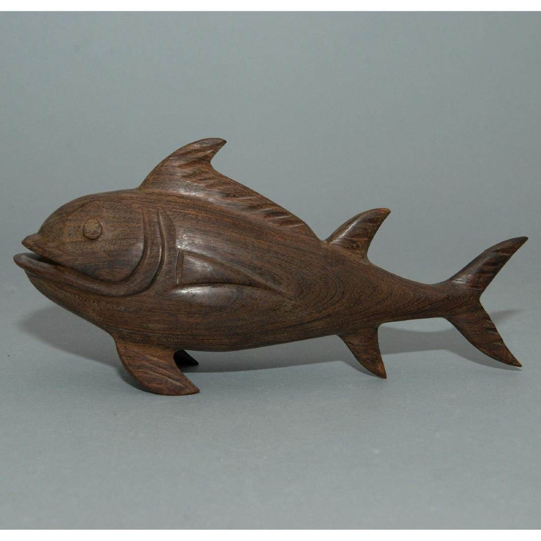 WOODEN CARVING OF FISH, ARTIST SIGNED - 3