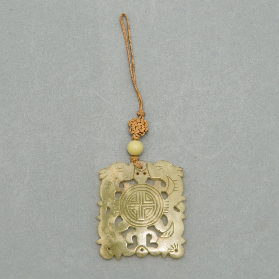 CARVED JADE NECKLACE ON DECORATIVE CORD - 2