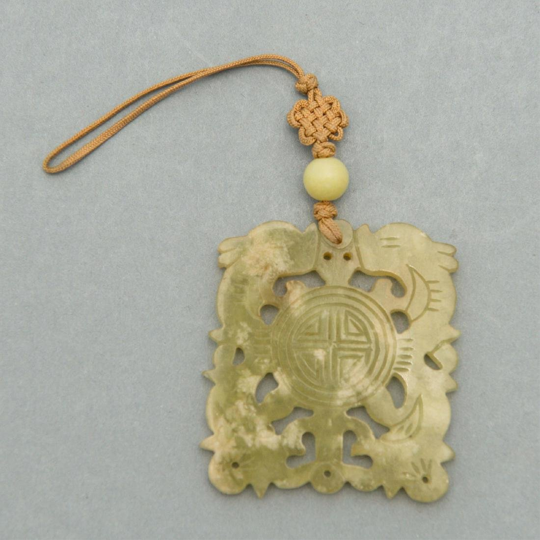 CARVED JADE NECKLACE ON DECORATIVE CORD - 3