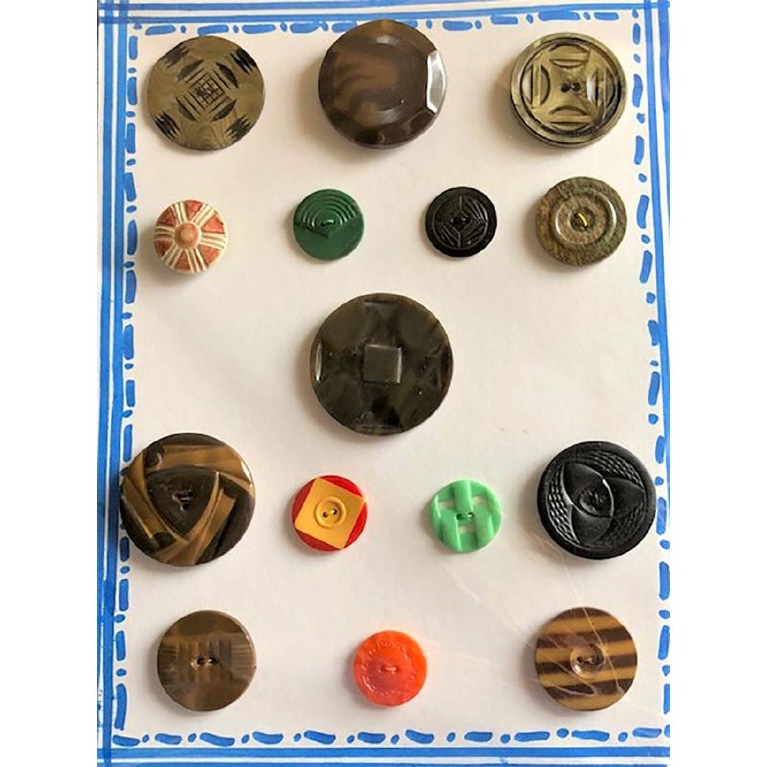 5 CARDS OF CELLULOID BUTTONS INCL COOKIES