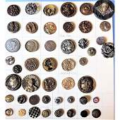 """47 METAL PICTURE BUTTONS INCL. """"HOOKING A SNAIL"""""""