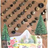 5 CARDS OF SMALL METAL PICTURE BUTTONS AND MORE