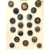 20 ML VICTORIAN CELLULOID BUTTONS INCL 2 LITHOS
