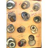 17 M/L METAL OVERLAY CELLULOID VICTORIAN BUTTONS