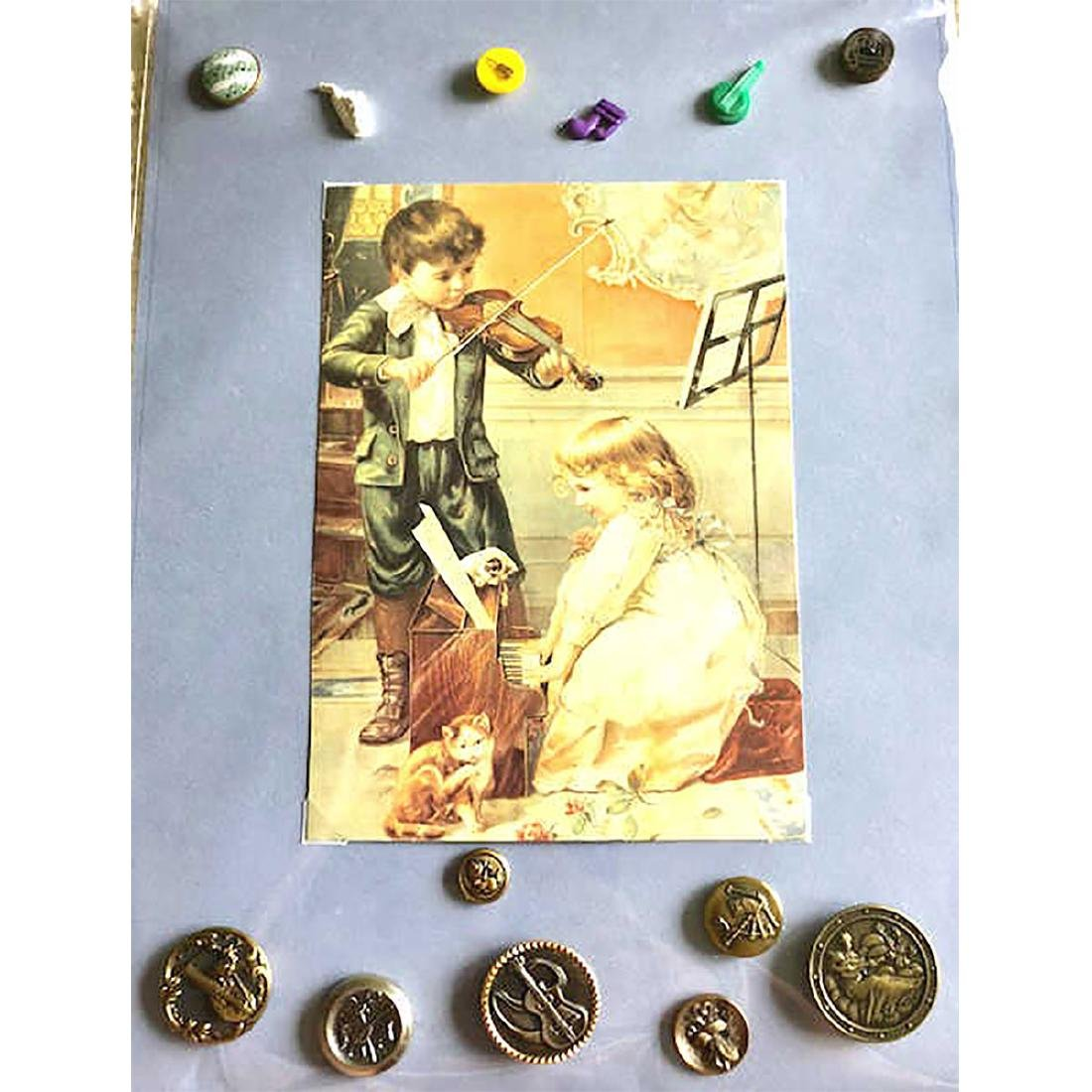 4 CARDS INCLUDING MUSICAL INSTRUMENT BUTTONS