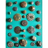 4 CARDS OF MOSTLY METAL BUTTONS INCL PIERCED