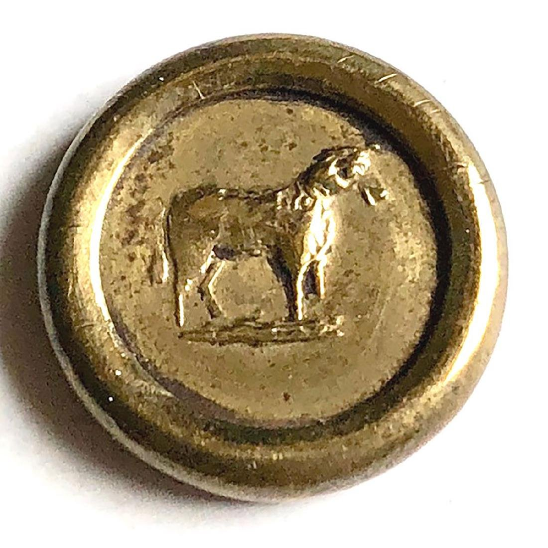 2 JACKSONIAN BUTTONS INCL. TRAIN & GOAT OR HORSE - 2