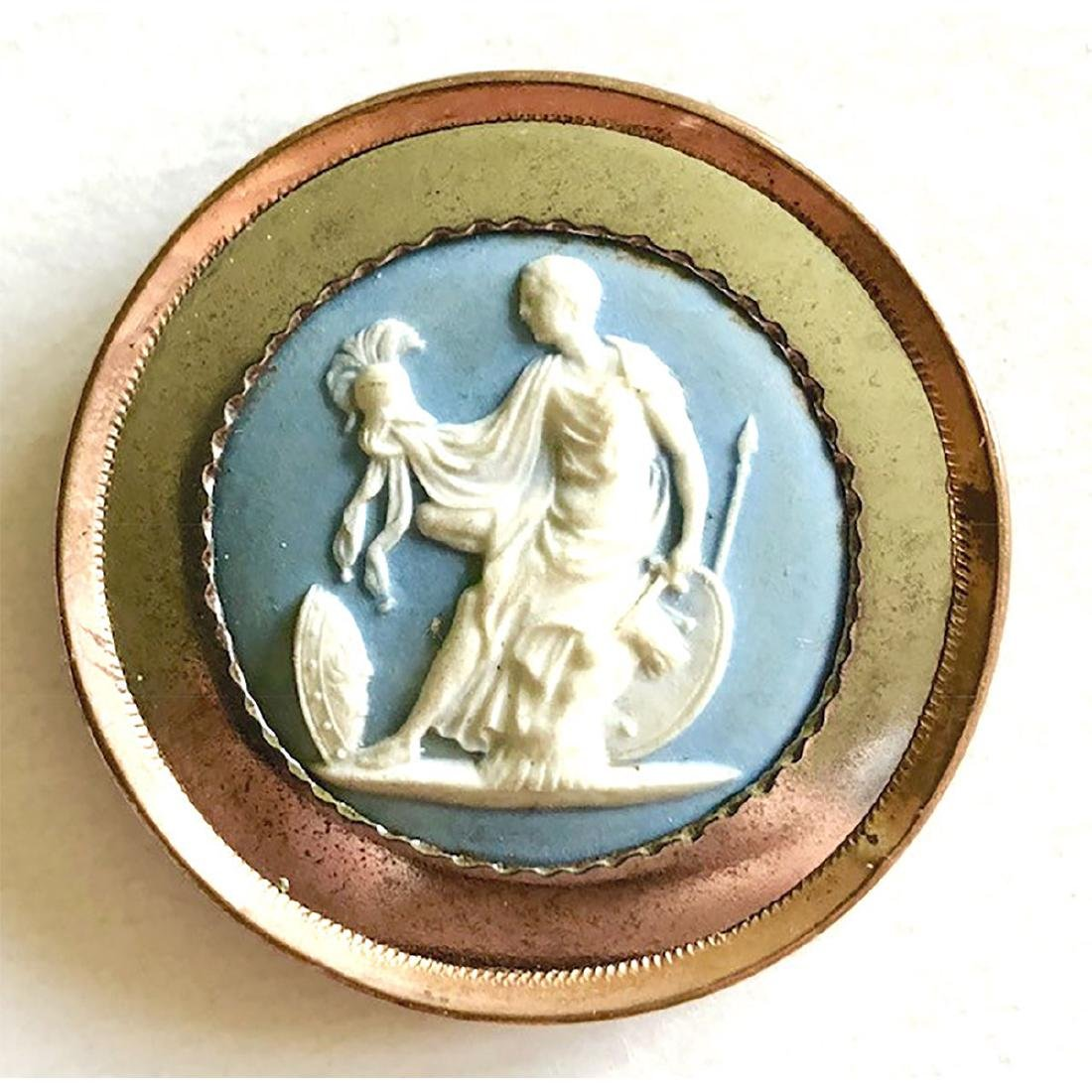 LARGE 18TH C. WEDGWOOD BUTTON WITH COPPER RIM