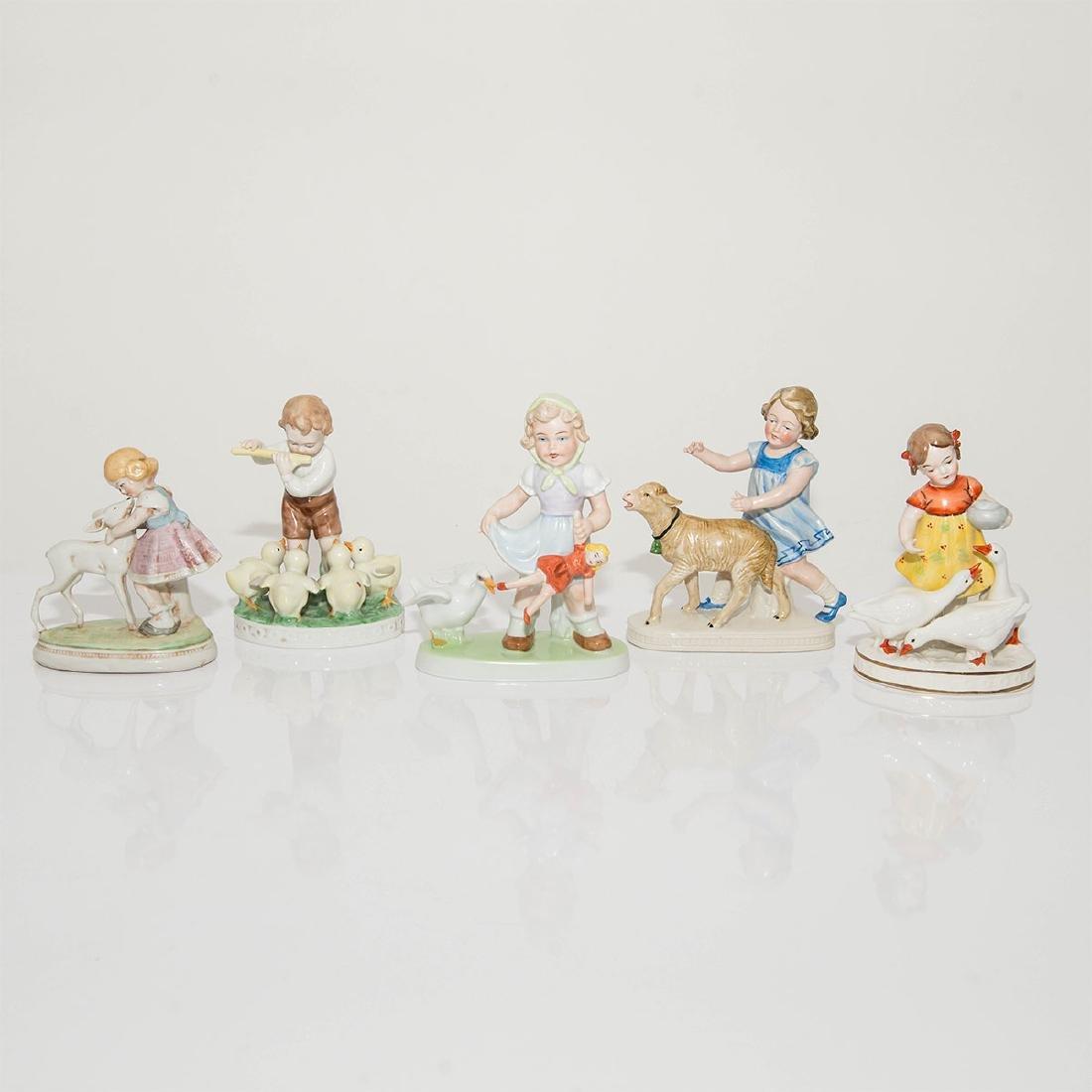 GROUP OF 5 VINTAGE GERMAN FIGURINES KIDS