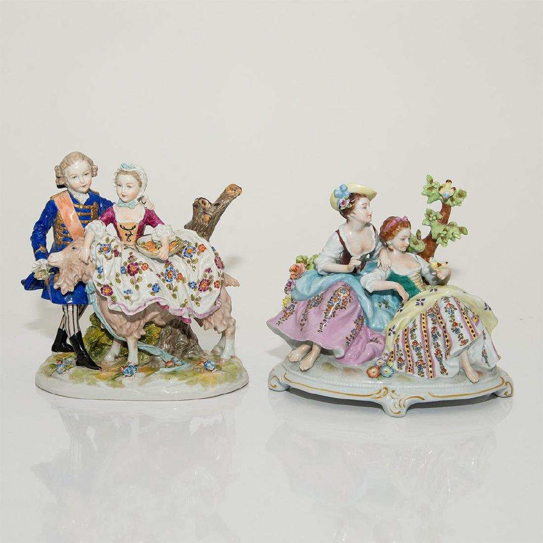 GROUP OF 2 LARGE ANTIQUE GERMAN GROUP FIGURINES