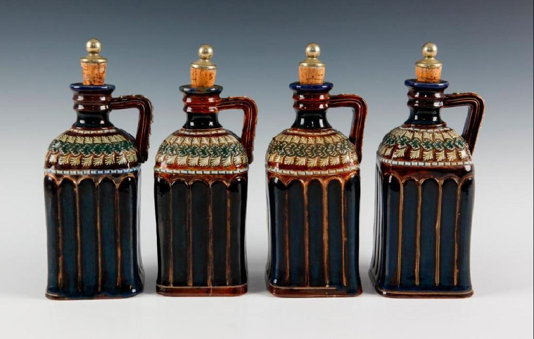 DOULTON LAMBETH SET OF 4PC LIQUOR DECANTERS WITH SILVER