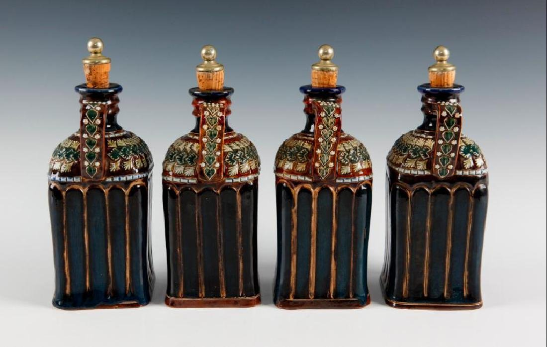 DOULTON LAMBETH SET OF 4PC LIQUOR DECANTERS WITH SILVER - 4