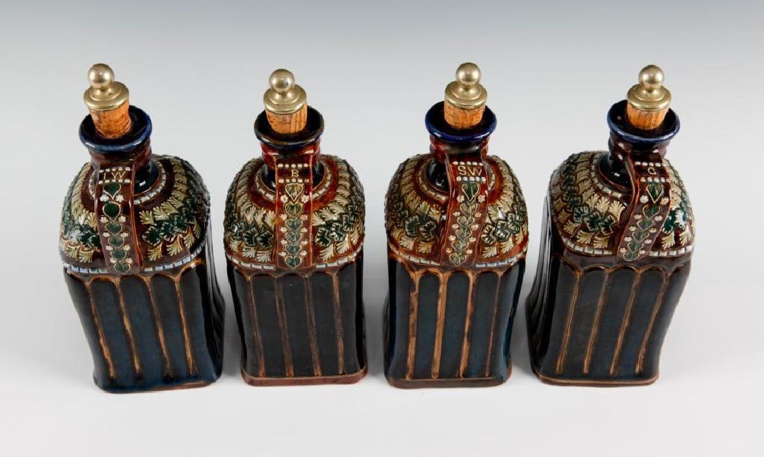 DOULTON LAMBETH SET OF 4PC LIQUOR DECANTERS WITH SILVER - 5