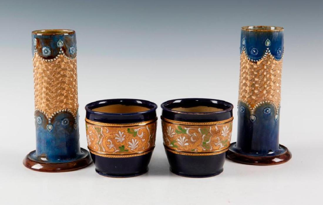 DOULTON LAMBETH PAIR OF GILT WARE VASES AND PAIR OF