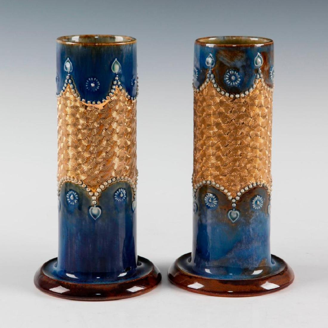 DOULTON LAMBETH PAIR OF GILT WARE VASES AND PAIR OF - 2