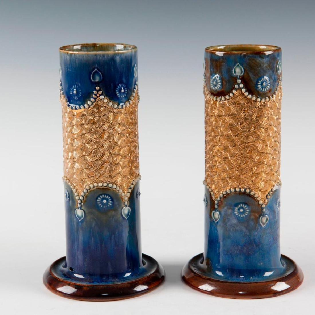 DOULTON LAMBETH PAIR OF GILT WARE VASES AND PAIR OF - 3