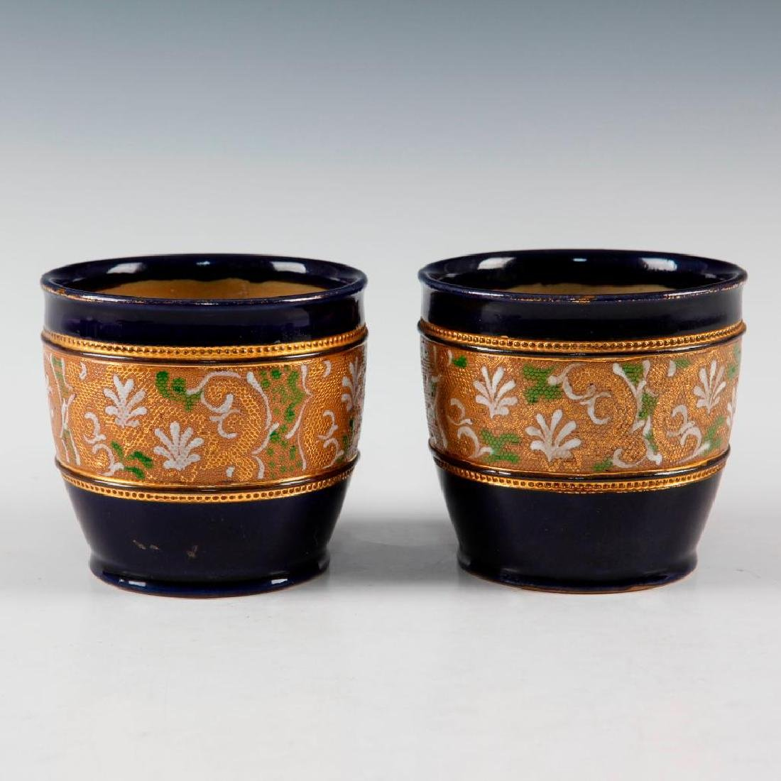 DOULTON LAMBETH PAIR OF GILT WARE VASES AND PAIR OF - 5