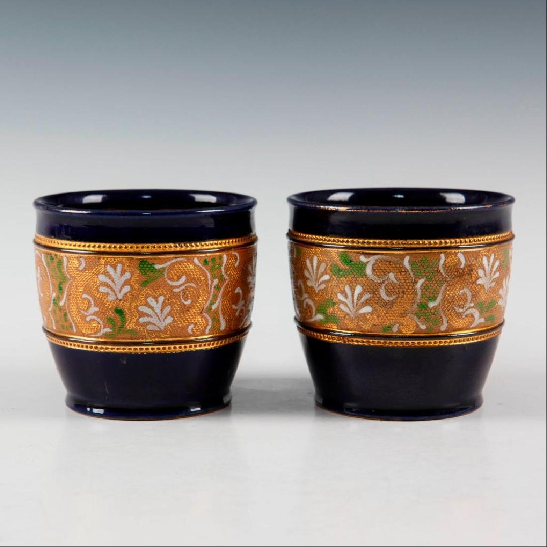 DOULTON LAMBETH PAIR OF GILT WARE VASES AND PAIR OF - 6