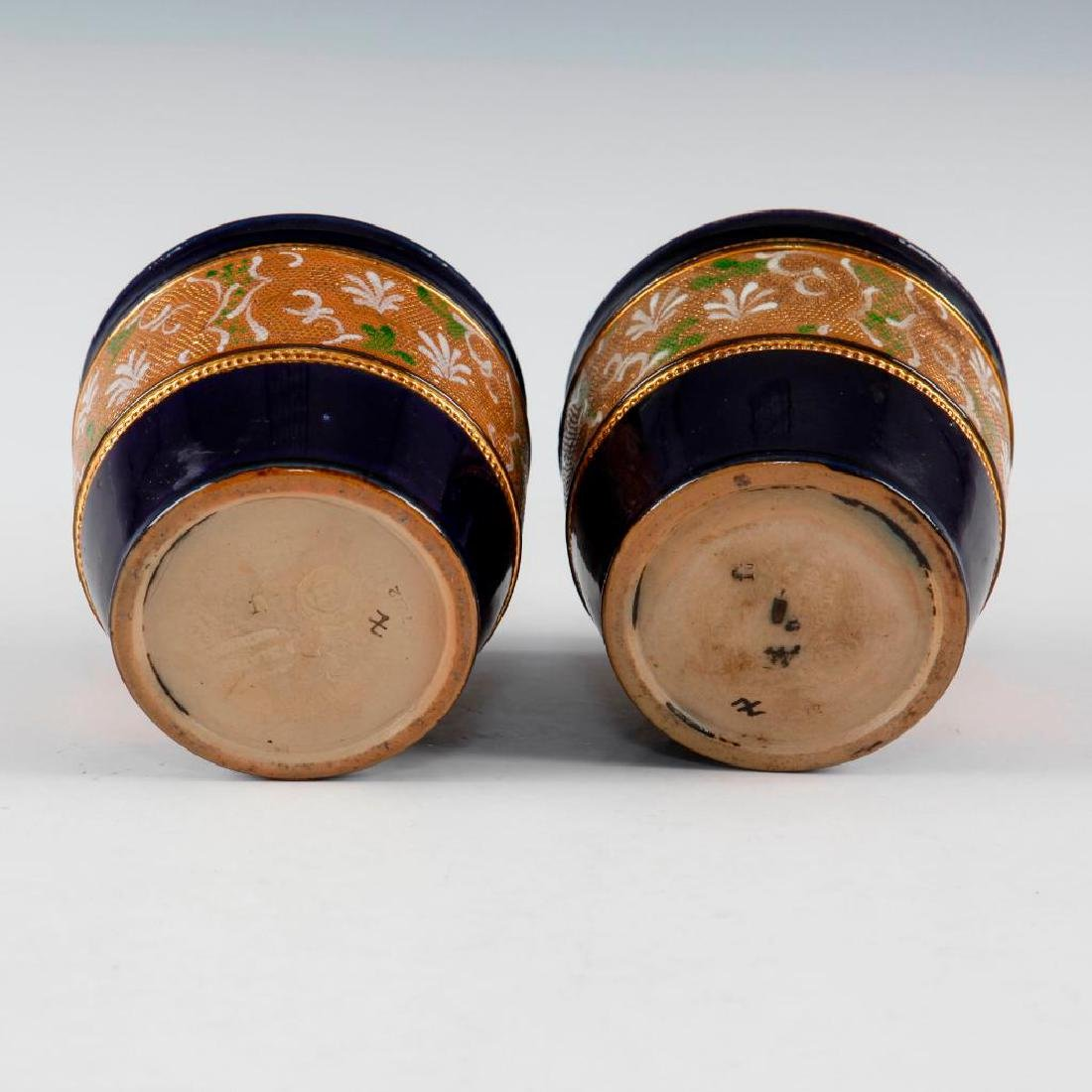 DOULTON LAMBETH PAIR OF GILT WARE VASES AND PAIR OF - 7