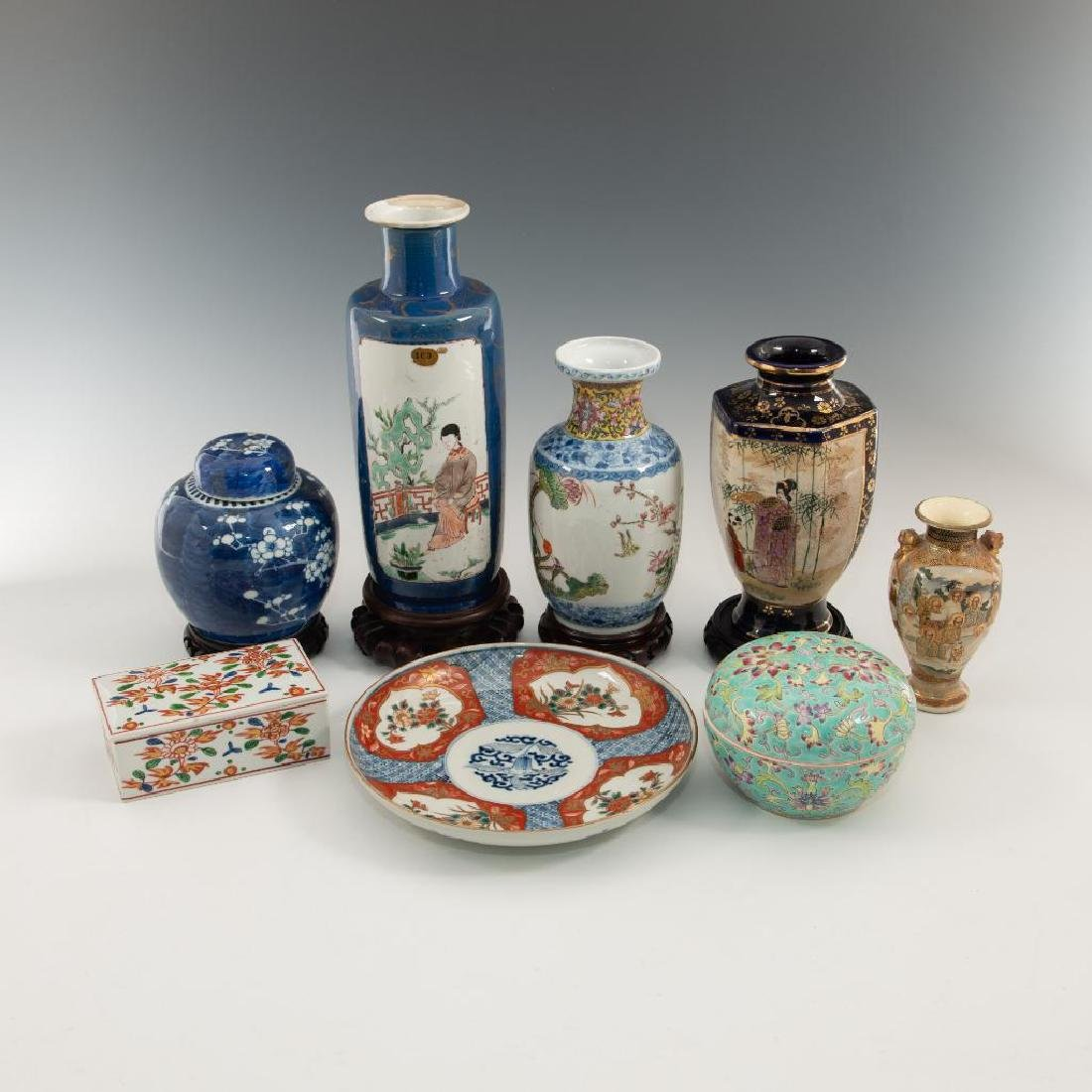 LOT OF 8 ORIENTAL PORCELAIN VASES DISHES AND BOX