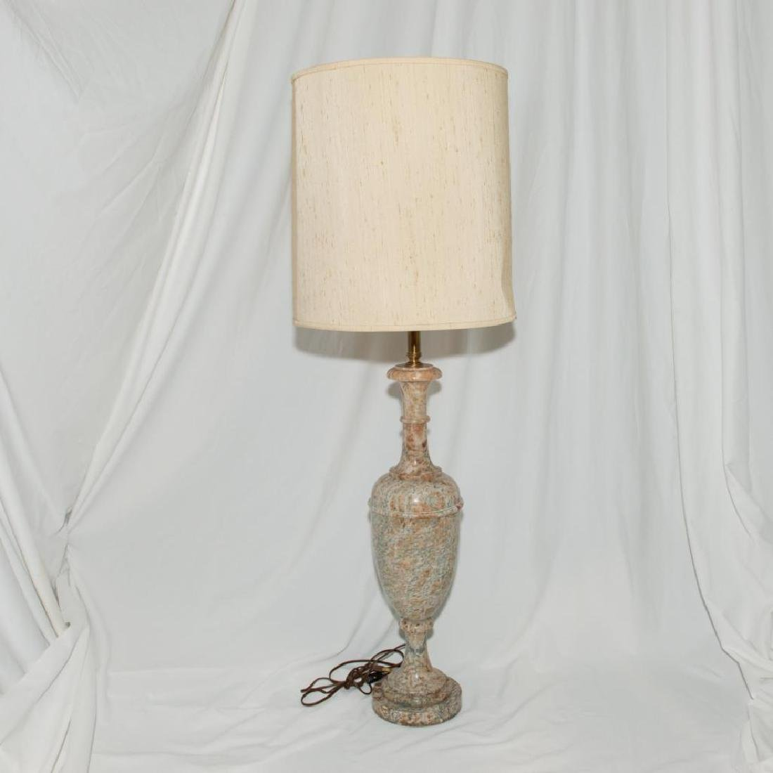URN-FORM ITALIAN HAND CARVED ALABASTER ELECTRIC LAMP
