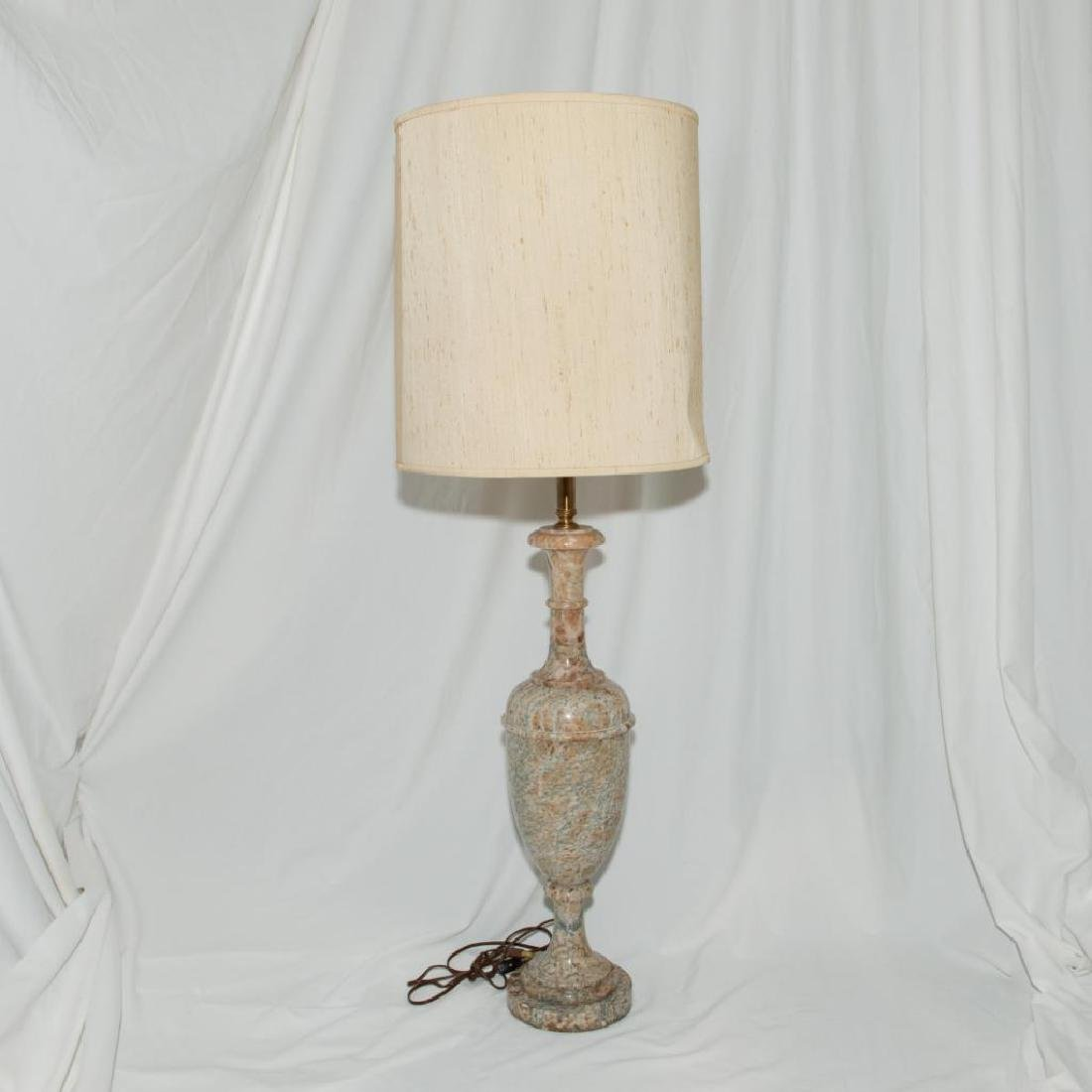 URN-FORM ITALIAN HAND CARVED ALABASTER ELECTRIC LAMP - 2