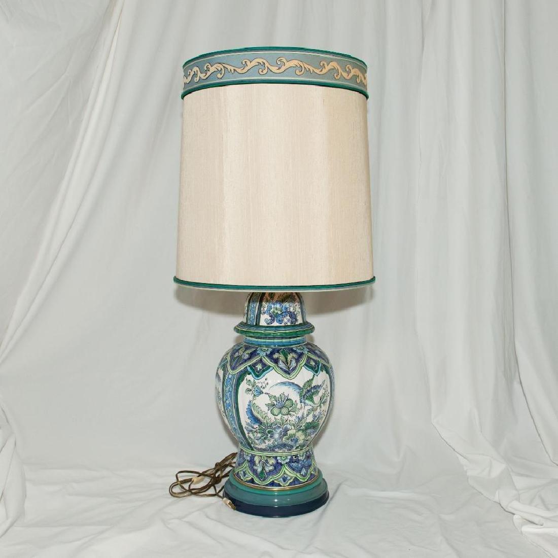 VINTAGE MARBRO CERAMIC TIN BRASS DUAL BULB DESK LAMP