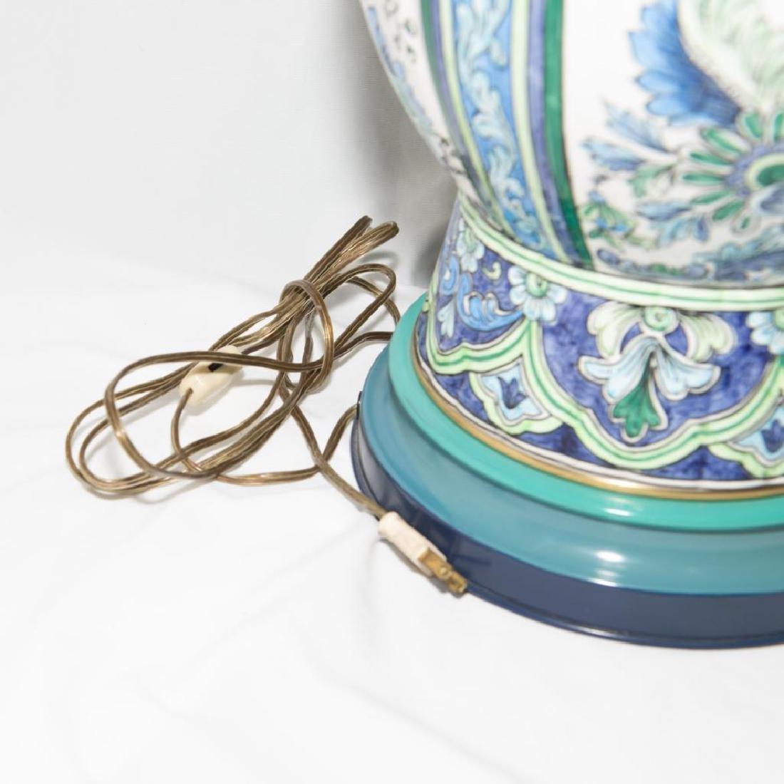 VINTAGE MARBRO CERAMIC TIN BRASS DUAL BULB DESK LAMP - 3