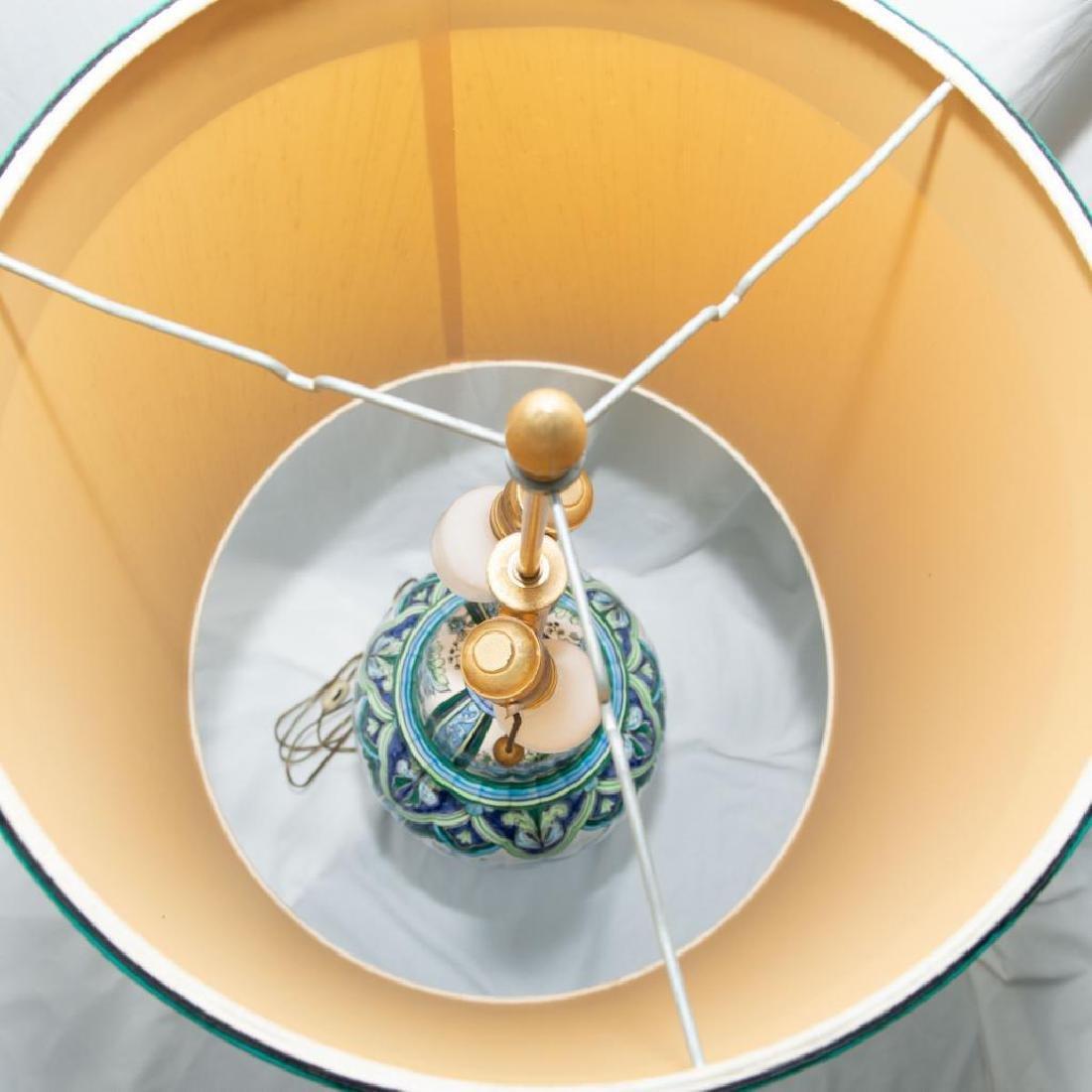 VINTAGE MARBRO CERAMIC TIN BRASS DUAL BULB DESK LAMP - 4