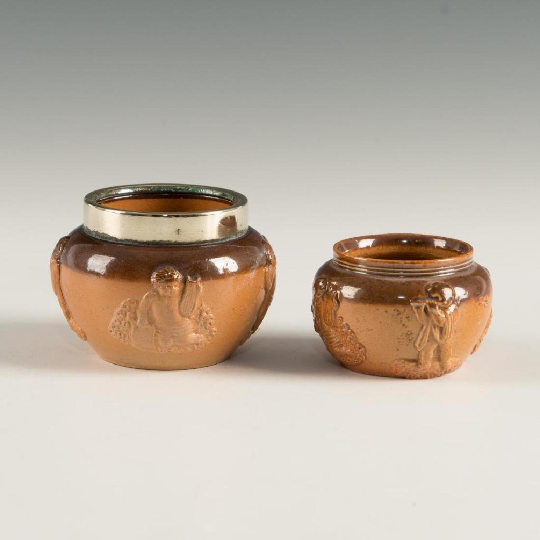 SET OF 2 DOULTON LAMBETH STONEWARE  OPEN SALT CELLARS